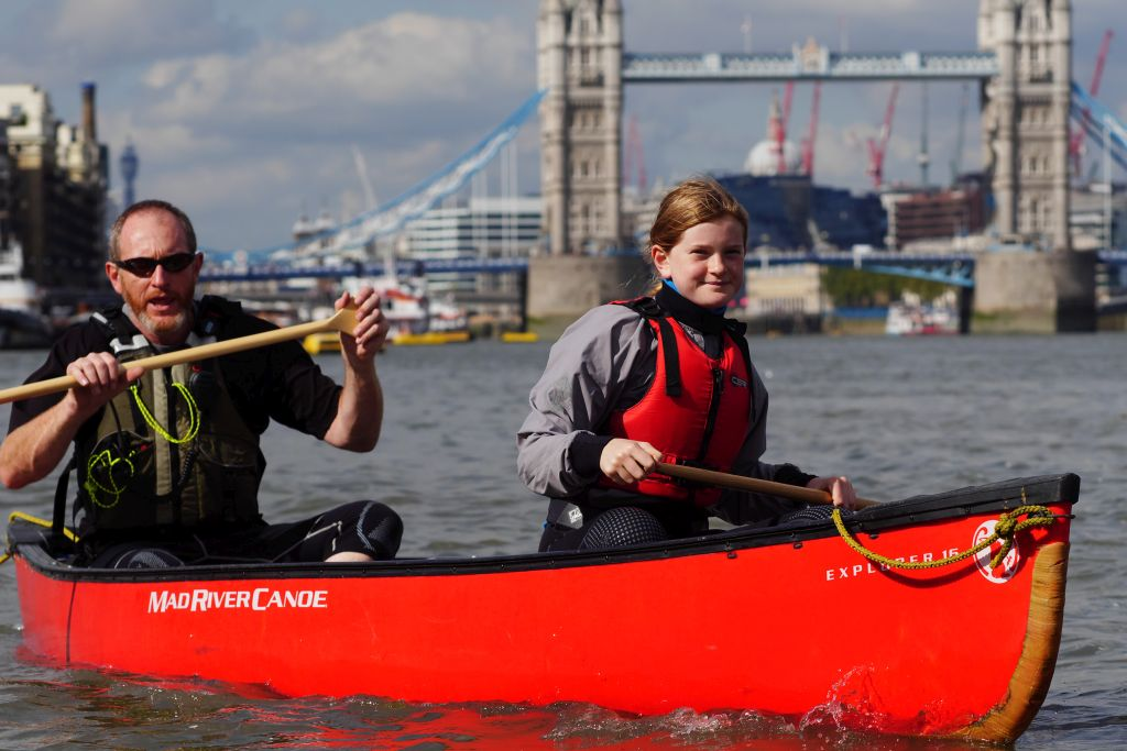Canoeing on the Thames between the Tower of London and Shadwell Basin